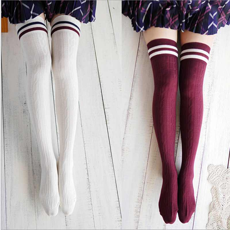 2016-font-b-white-b-font-red-college-wind-thigh-high-font-b-socks-b-font